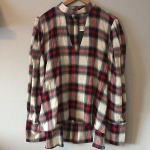 Zara • Plaid Button Back Blouse